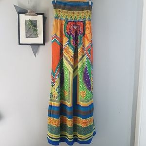 Flying Tomato Strapless Boho Colorful Maxi Dress L